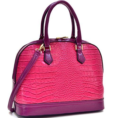 dasein-faux-croco-leather-dome-top-zip-around-satchel-shoulder-handbag-purse-with-removable-shoulder