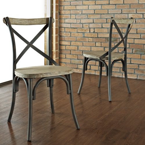 Industrial Reclaimed Solid Wood Dining Chairs, Set of 2 | Comprar en ...