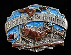 Rather Be Hunting Colored Belt Buckle