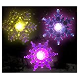 Snowflake Color Changing Led Lights Set Of 3 Snowflakes With Suction Cups Attached To Back For Hanging In A Window...