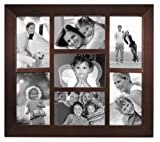 "Malden International Designs Berkeley Beveled Edge Wood 7-Opening 4 x 6"" Collage Walnut Picture Frames"