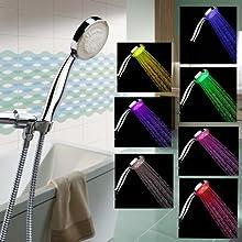 LED Shower Head with Shower Hose - Color Changing LED Shower Head - 12 LED Showehead - Rainbow LED S