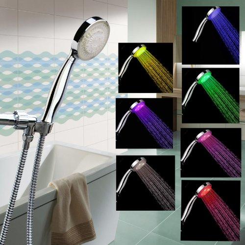 LED Shower Head with Shower Hose - Color Changing LED Shower Head - 12 LED Showehead - Rainbow LED Showers.