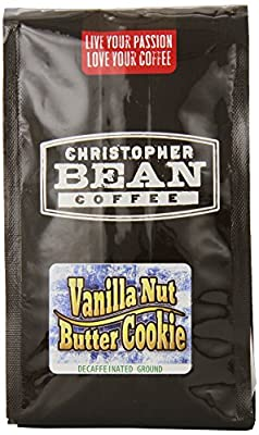 Christopher Bean Coffee Flavored Decaffeinated Ground Coffee, Vanilla Nut Butter Cookie, 12 Ounce