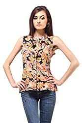 Femme India Women Poly Crepe Peach Tie Front Top