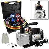 5CFM 1/2HP Rotary Vane Air Vacuum Pump HVAC + R134A AC Refrigeration Kit A/C ...