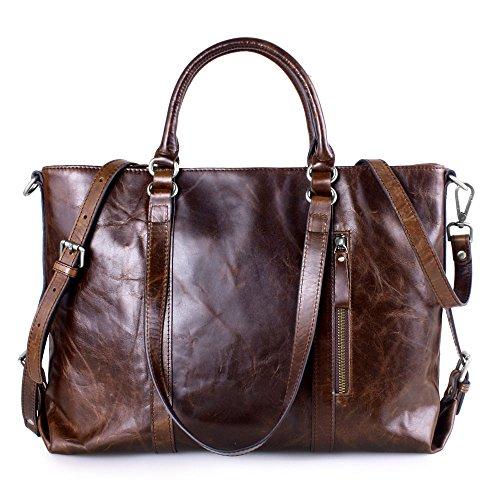 Image of Kattee Vintage Genuine Leather Lady Satchel Tote Handbag Coffee