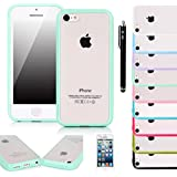 E LV IPTPUPC-5C Soft Slim Fit Flex Frost Back Shock-Absorption Bumper Case for iPhone 5C Bundle with Screen Protector, Stylus and Microfiber Digital Cleaner - Mint
