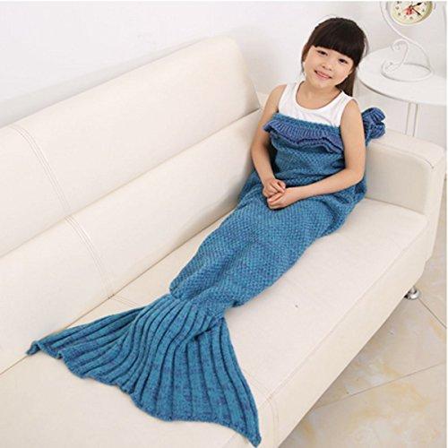 CAMTOA Mermaid Tail Blanket /Coperta sirena coda / Aria condizionata Coperta - Knitting Pattern - Sacco a pelo a maglia Artigianato - Tutte stagioni - 70x140cm / 27.56 x 55.12''