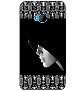 PrintDhaba Girl In Shade D-4093 Back Case Cover for HTC ONE M7 (Multi-Coloured)