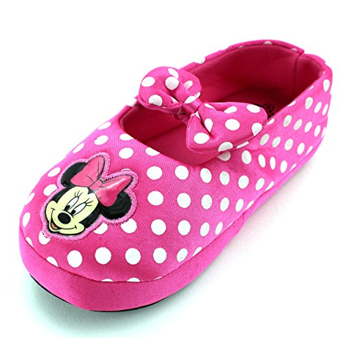 Minnie Mouse Girls Ballet Style Slippers (Minnie Pink Polka Dot, L (9/10) M US Toddler)