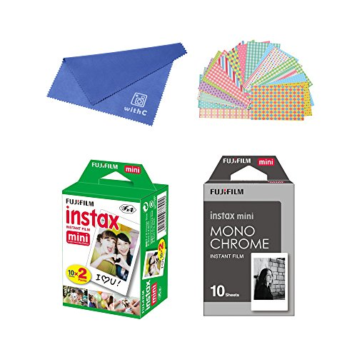 Fujifilm Instax Mini Instant Film 2-PACK BUNDLE SET , Twin Pack Film ( 20 ) + Film Monochrome ( 10 ) + Original Cleaning Cloth + Stickers 20 pcs. for Mini 90 8 70 7s 50s 25 300 Camera SP-1 Printer