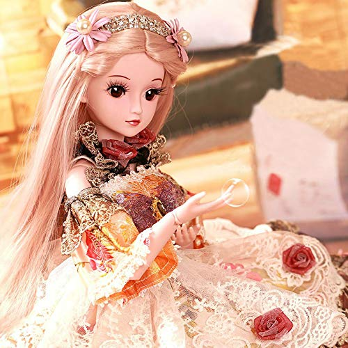 1//3 BJD Doll Ball Jointed Girl Dolls Free Eyes Face Makeup Wig Clothes Set GIFT