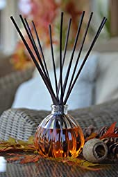 L&M Naturals Sweet Spiced Pumpkin Reed Diffuser in Decorative Clear pumpkin glass~ Great aromatherapy Pumpkin aroma that will fill your space with Fall fragrance~