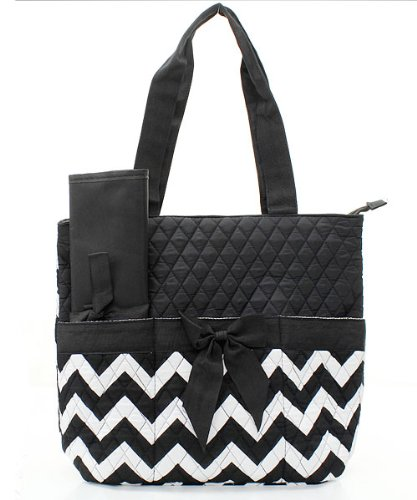 Handbag Inc Quilted Chevron Stripe Diaper Bag Baby Changing Pad Cosmetic Bag Black & White - 1