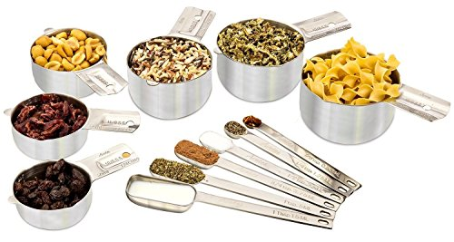 Stainless Steel Measuring Cups and Spoons 12-Piece Set 6 Stackable Cups & 6...