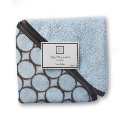 Swaddledesigns Organic Cotton Baby Washcloths, Brown Mod Circles, Set Of 2 In Pastel Blue