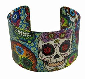 Colorful Day of the Dead Sugar Skull Metal Cuff Bracelet