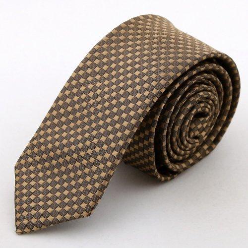 Brown Checkered Slim necktie Matching Present Box Set brown valentines day PS1054