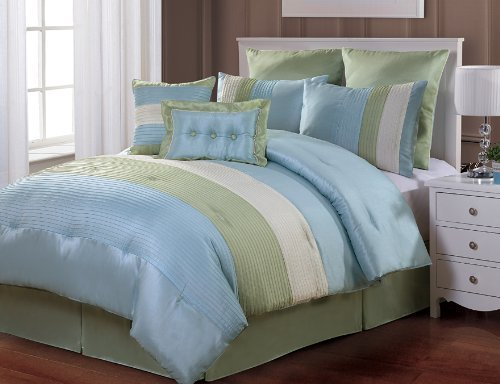 $$ Best Buy $$ 8 Pc Modern Blue/ Green/ White / Bed In A Bag / Comforter Set / King Size Bedding