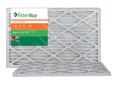 AFB Bronze MERV 6 17x20x1 Pleated AC Furnace Air Filter. Pack of 2 Filters. 100% produced in the USA.