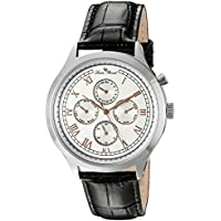 Lucien Piccard Men's 'Besana' Quartz Stainless Steel and Black Leather Casual Watch