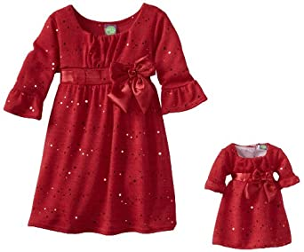 Dollie & Me Little Girls' Three-Fourth Bell Sleeve Sweater Knit Dress With Matching Doll Garment, Red, 4T