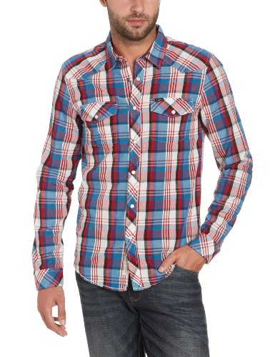 Lee Men's Slim Western - L871Pacm Casual Shirt Red (Textbook Red) 48/50