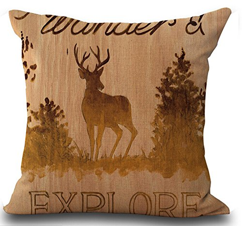 Retro Vintage Background Wildlife Lodge Bucks Explore Throw Pillowcase Personalized Cushion Cover NEW Home Office Decorative Square 18 X 18 Inches
