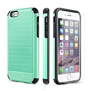 iPhone 6 Case, iPhone 6s Case PowerMoxie with [Tempered Glass Screen Protector] Brushed 2.0 Design SLIM FIT Premium Protective Case Shock absorbing Dual Layer for Iphone 6 6s - Teal