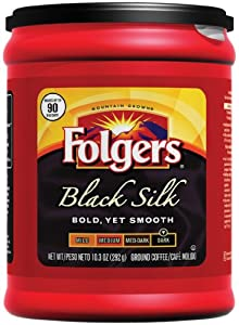 Folgers Black Silk Ground Coffee, 10.3-Ounce Packages (Pack of 6)