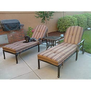 "Heritage Outdoor Living Flamingo Cast Aluminum 3pc Outdoor Patio Chaise Lounge Set with 21"" Square Table - Antique Bronze"