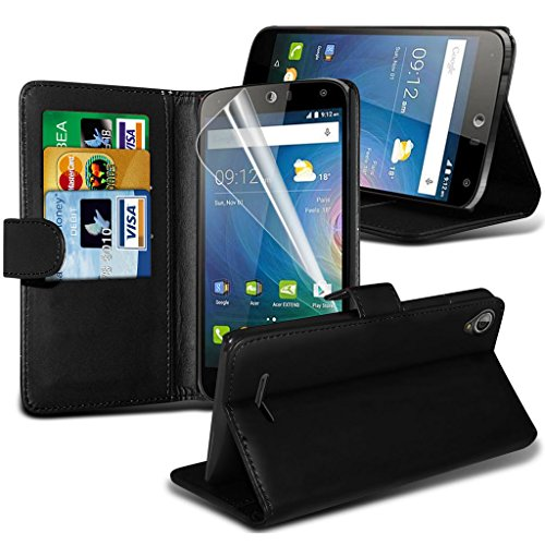Fone-Case High Quality Black Acer Liquid Z630 custodia, caso, Case Cover Executive Wallet Book Style Cover Made From PU Leather with 3 Credit Card Holder slots, 1 Screen Protector and 1 Colour Coded Aluminium Adjustable Pen