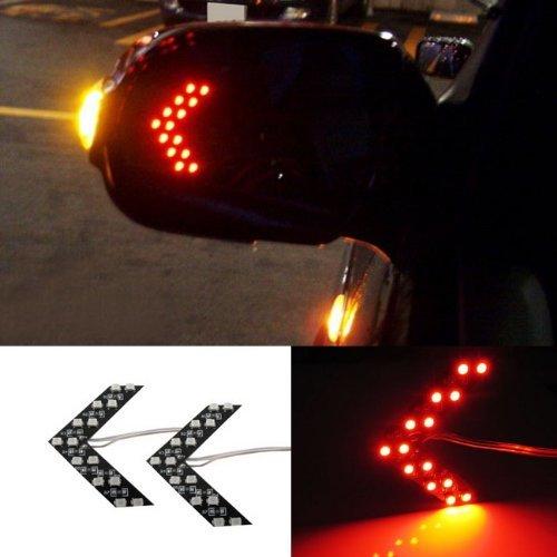 2 Red Led Arrow Flash Lights Smd Car Side Hidden Mirror Turn Signal Indicators