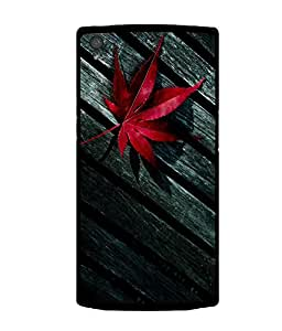 printtech Wooden Table Broken Leaf Back Case Cover for OnePlus X