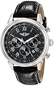 I By Invicta Men's 90242-001 Chronograph Black Dial Black Leather Dress Watch