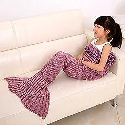 Mermaid Tail Blanket for Kids ,Hand Crochet Snuggle Mermaid,All Seasons Seatail Sleeping Bag Blanket by Jr.White (Kids-Pink)