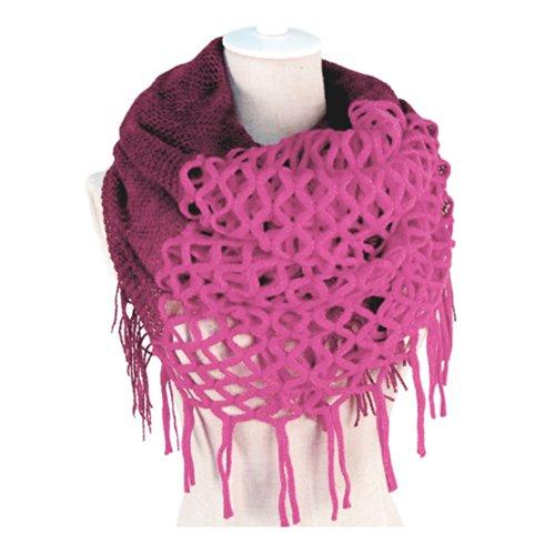 Novawo Fashion Women Winter Warm Knit Long Scarf (Rose Red)