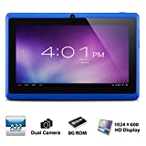 Alldaymall® A88X 7'' Quad Core Google Android 4.4 KitKat Tablet PC MID, Dual Camera, HD 1024x600 Capacitive Multi-touch Screen, 8GB Nand Flash, Google Play Pre-load, 3D Game Supported (Advanced version of A88) Blue