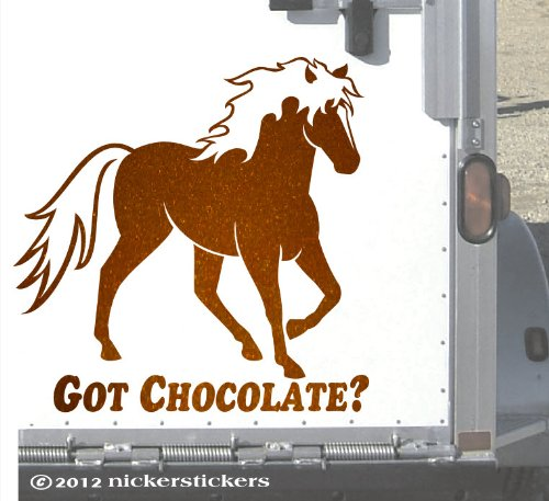 """Got Chocolate? Rocky Mountain Horse Trailer Metallic Copper Decal - Large 15"""" X 15"""" front-179466"""