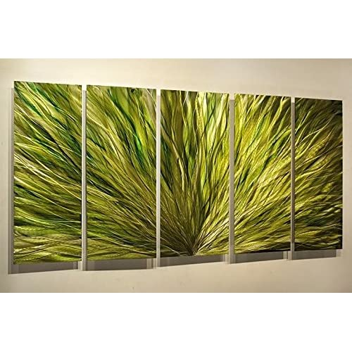 Emerald Plumage - Hand-Painted Green Modern Metal Art For Walls by Artist Jon Allen