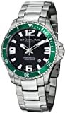 Stuhrling Original Mens 395.33P154 Aquadiver Regatta Champion Professional Diver Swiss Quartz Date Green Bezel Watch