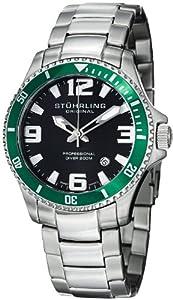 "Stuhrling Original Men's 395.33P154 ""Aquadiver Regatta Champion"" Swiss Quartz Stainless Steel Watch with Green Bezel"