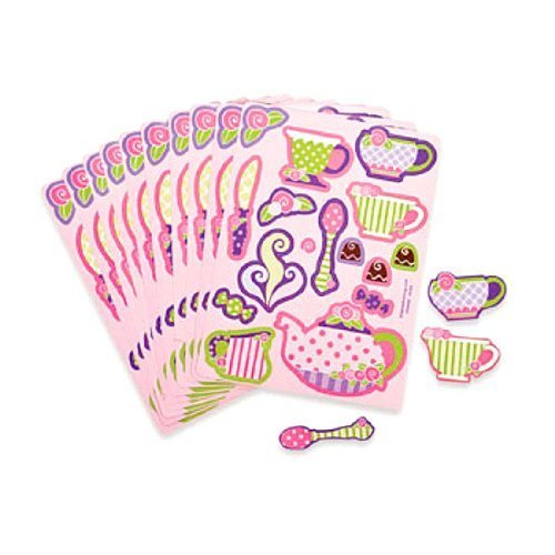 Fun Express Girly Tea Party Sticker Sheets (2 Dozen) Toy