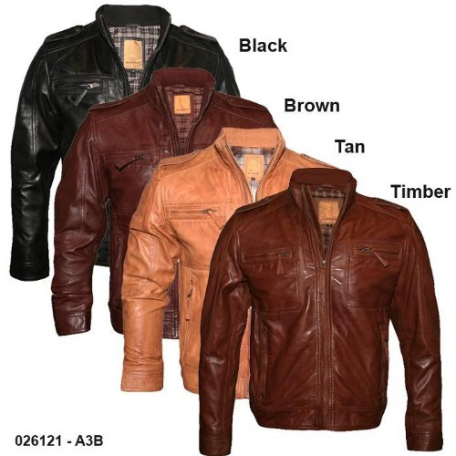 Mens Military Style Vintage Leather Jacket A3B Size XL - Extra Large