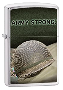 Zippo Pocket Lighter Army Strong Windproof Lighter, Brushed Chrome