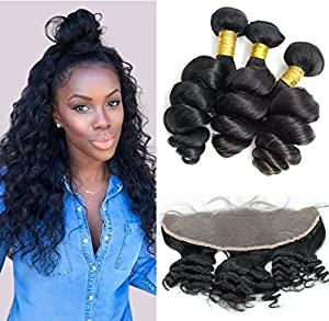Coco's Hair® Loose Wave Lace Frontal Closure with 3 Bundles Hair Weave Virgin Brazilian Hair 4Pcs/lot Remy Human Hair Natural Color(20
