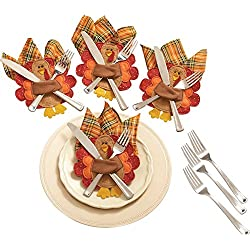 Thanksgiving Turkey Silverware & Napkin Holders - Set of 4