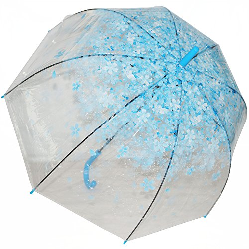 Kung Fu Smith Half Automatic Clear Flower Bubble Dome Shape Rain Umbrella