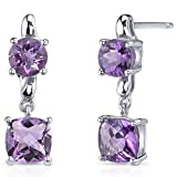 Revoni Cushion Cut 2.50 Carats Amethyst Earrings in Sterling Silver Rhodium Finish